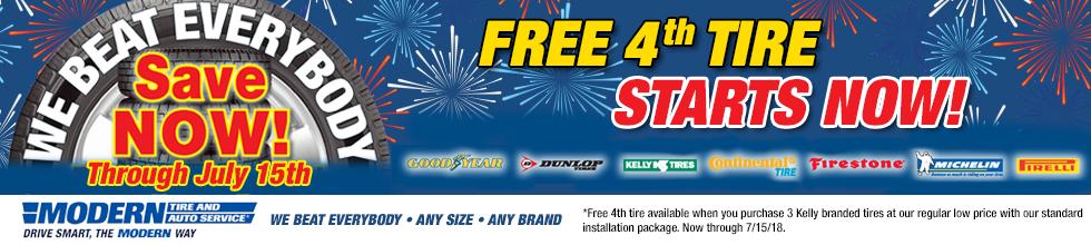 Free 4th Tire. Expires 7/25/18.